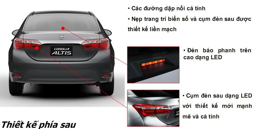 Thiết kế phía sau xe